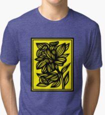 Shinney Daffodil Flowers Yellow Black Tri-blend T-Shirt