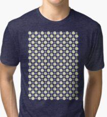 White Wildflower with Black Border Tri-blend T-Shirt