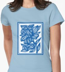 Maymon Daffodil Flowers Blue White Women's Fitted T-Shirt