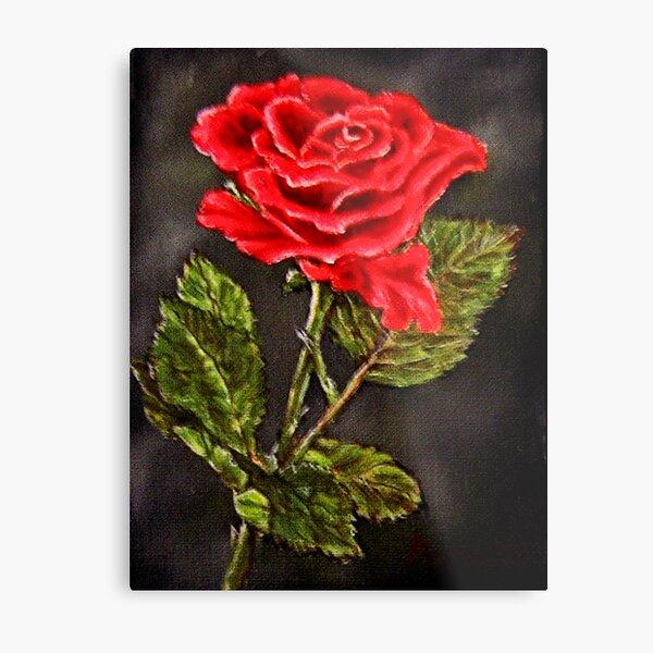 """Red Rose"" - Oil Painting Metal Print"
