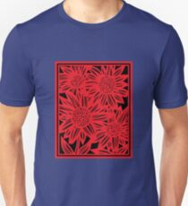 Zarco Flowers Red Black Unisex T-Shirt