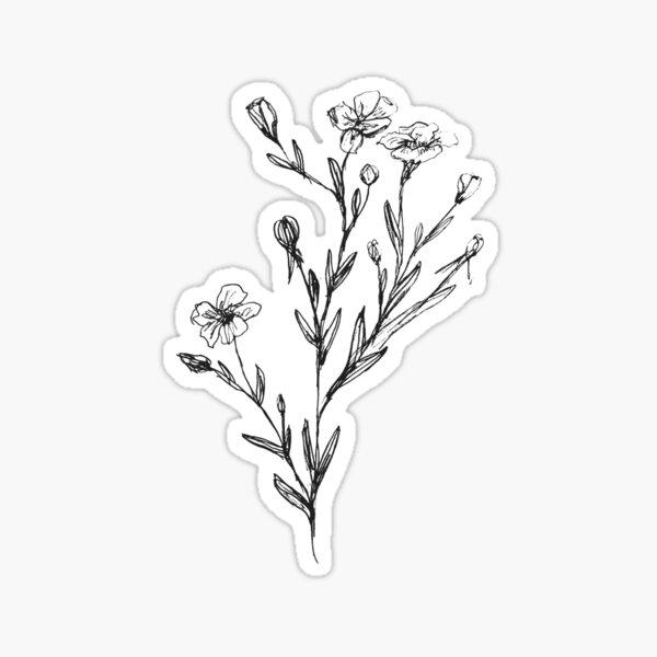 Wild flowers sketch Sticker