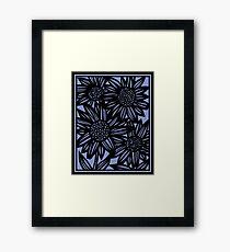 Fatone Flowers Blue Black Framed Print