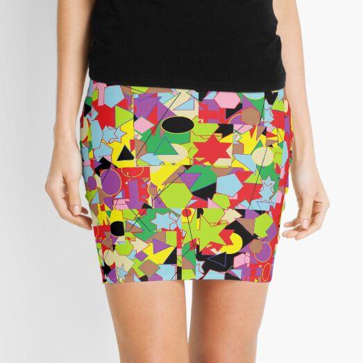 Motley Abstract Pattern Mini Skirt