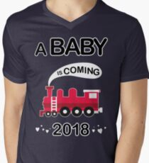 A Baby is Coming 2018 Pregnancy Announcement TShirt Men's V-Neck T-Shirt