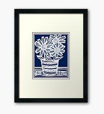 Perrett Flowers Blue White Framed Print