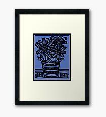 Novara Flowers Blue Black Framed Print