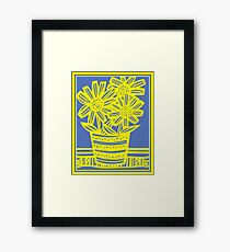 Chinnis Flowers Yellow Blue Framed Print