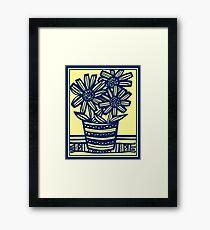 Anthon Flowers Yellow Blue Framed Print