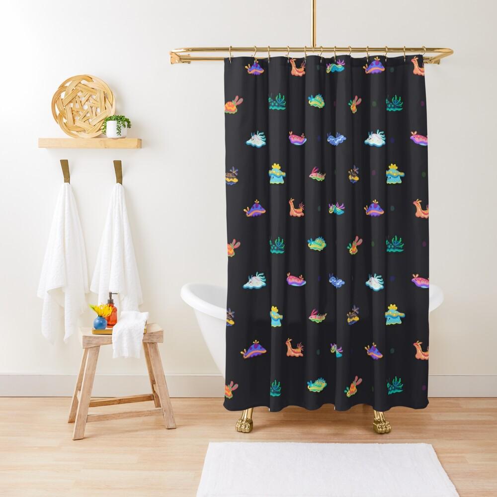 Sea slug - black Shower Curtain