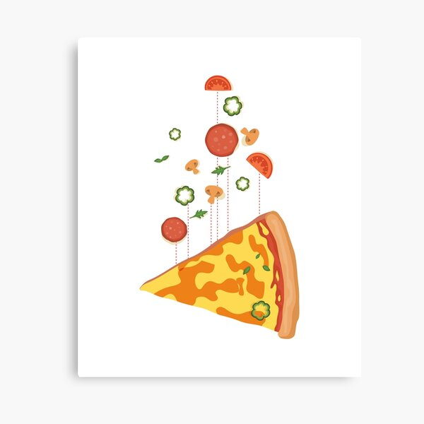 Pizza floating island - Hot pizza is in the air - I love Pizza Canvas Print