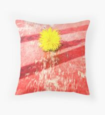 Yellow Dandelion on Red Oil Painting Fusion Throw Pillow
