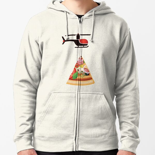 Helicopter delivery with big deal pizza - I love Pizza Zipped Hoodie
