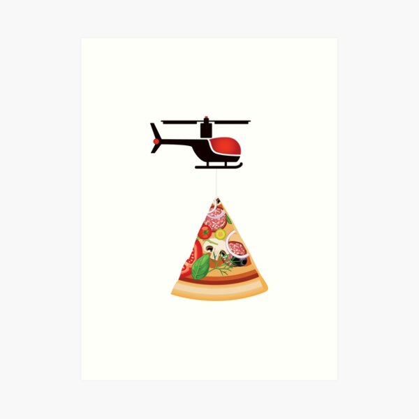 Helicopter delivery with big deal pizza - I love Pizza Art Print