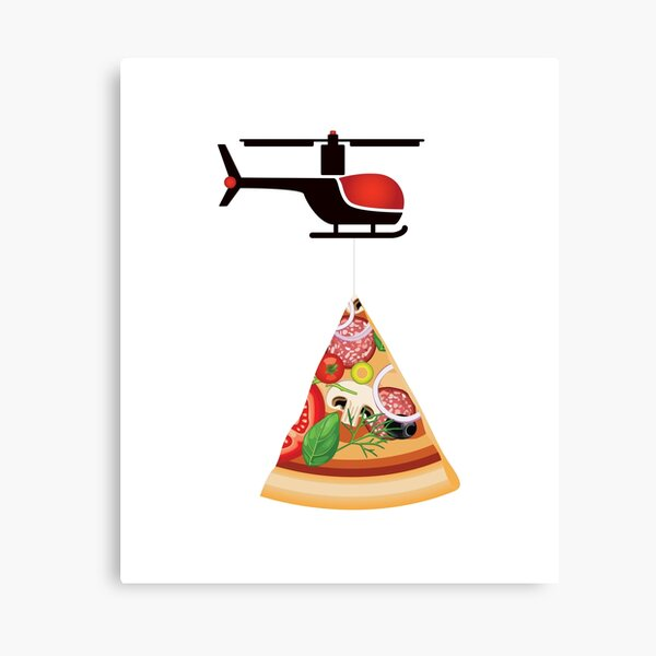 Helicopter delivery with big deal pizza - I love Pizza Canvas Print