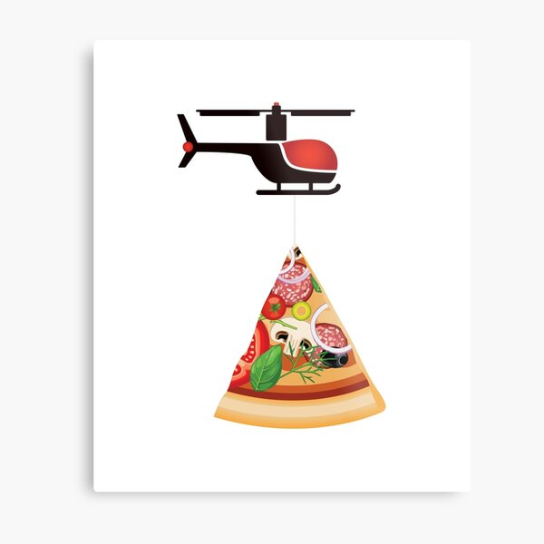 Helicopter delivery with big deal pizza - I love Pizza Metal Print