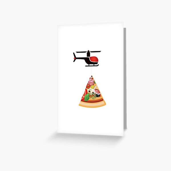 Helicopter delivery with big deal pizza - I love Pizza Greeting Card
