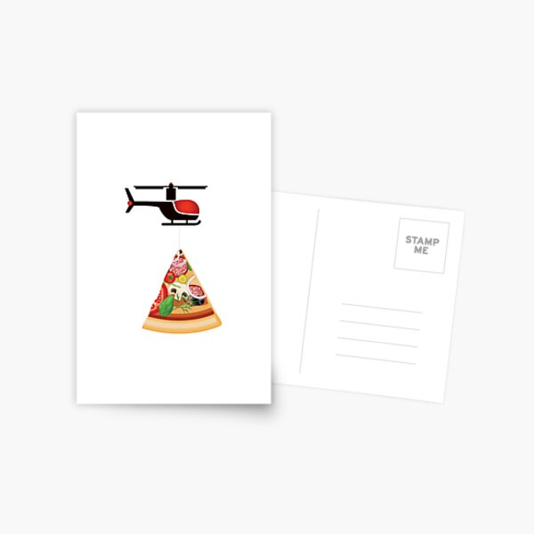 Helicopter delivery with big deal pizza - I love Pizza Postcard