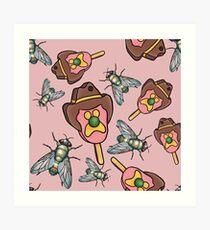 Bubble O Bottle Fly - Pink Art Print