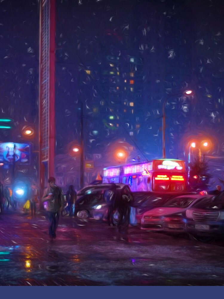 Bladerunner Style Neon Urban City Oil by NeonAbstracts