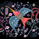 «Colibrí rosa y flores» de craftipixel