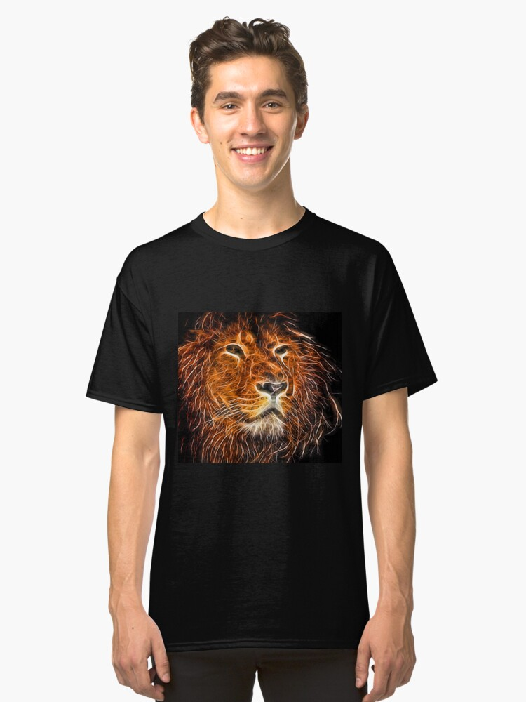 Neon Strong Proud Lion on Black Classic T-Shirt Front