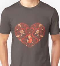 Openwork heart from a flower ornaments with a fox. Emblem, a symbol of Valentine's day. Decorative item. Unisex T-Shirt