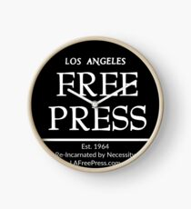 Los Angeles Free Press Clock Black Logo Clock