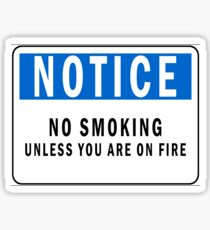 NO smoking unless youre on fire Sticker
