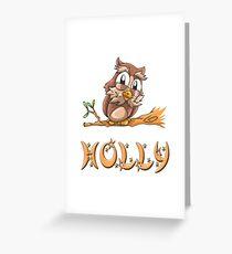 Holly Owl Greeting Card