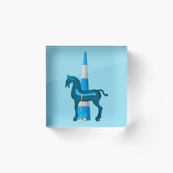 polo horse blue Acrylblock