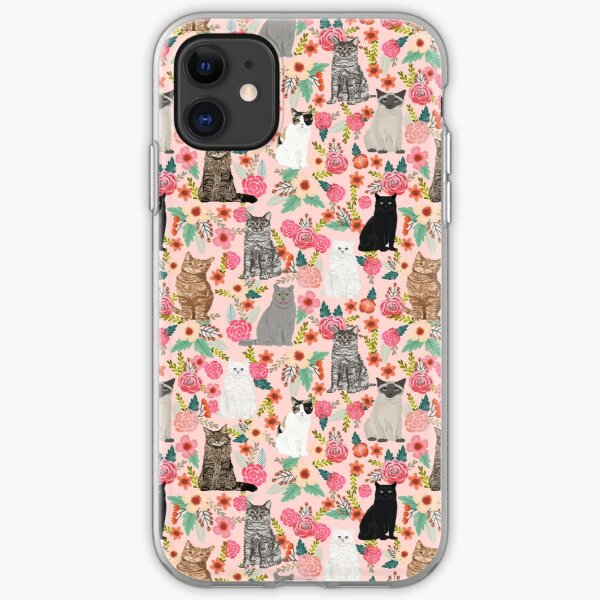 Cat floral mixed breeds of cats gifts for pet lovers cat ladies florals iPhone Soft Case