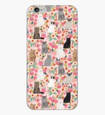 Cat floral mixed breeds of cats gifts for pet lovers cat ladies florals iPhone Case
