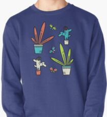 Line simple houseplants. Succulent and grass. Pattern.  Pullover