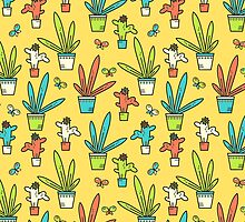 Line simple houseplants. Succulent and grass. Pattern.  by Dinkoobraz