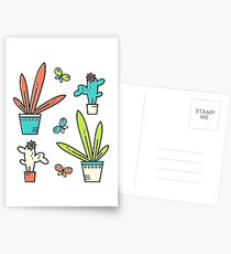 Line simple houseplants. Succulent and grass. Pattern.  Postcards
