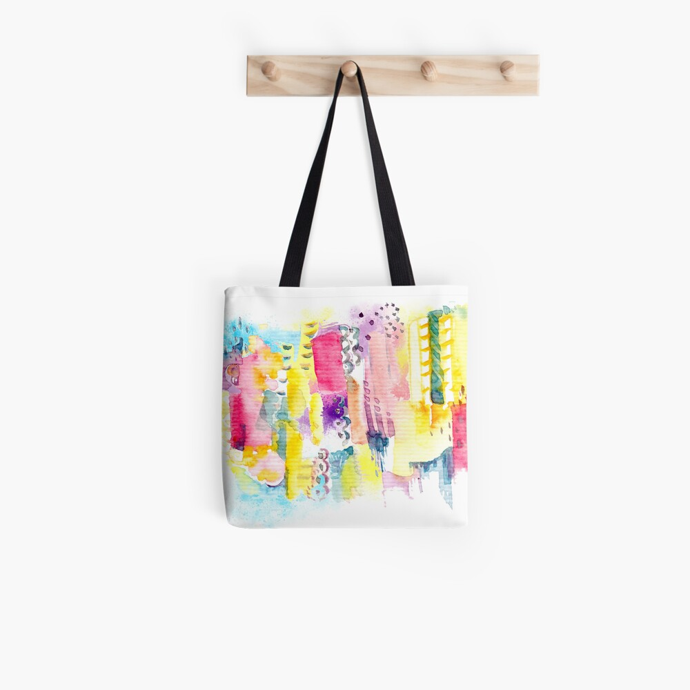 Abstract Watercolor Cityscape Tote Bag