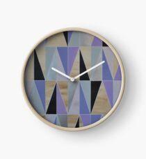 Purple Black Metallic Silver Chevron Geo Clock