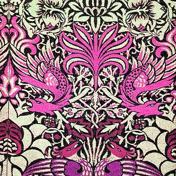FLOWERS,PEACOCKS AND DRAGONS Pink Purple White Floral by BulganLumini