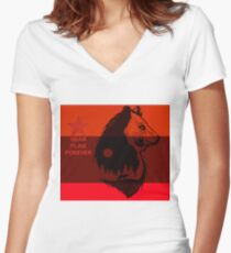 bear flag forever Women's Fitted V-Neck T-Shirt