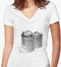 Trash Cans Women's Fitted V-Neck T-Shirt