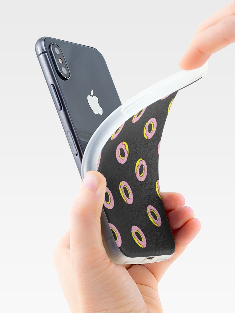 Alternate view of Donuts on Black iPhone Case & Cover