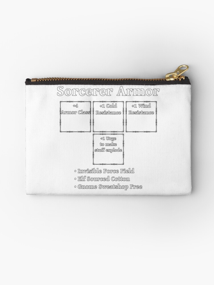 'Sorcerer Armor: Role Playing DND 5e Pathfinder RPG Tabletop RNG' Zipper  Pouch by geekydesigner