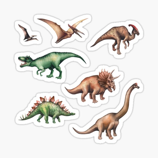 Watercolor collection of dinosaurs Sticker