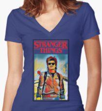 STEVE HARRINGTON STRANGER THINGS Women's Fitted V-Neck T-Shirt