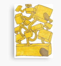 Yellow 3D Blocks by Seth Cummins Metal Print