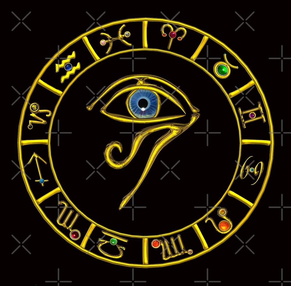 6fd922a9e5ec30 ASTRAL HORUS EYE ,BLUE TALISMAN ,GOLD ZODIACAL SIGNS ASTROLOGY CHART by  BulganLumini