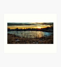 Frozen Pound and Sunset Art Print