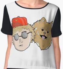 Cartoon Pomeranian + Human Chiffon Top