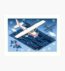 Isometric Infographic Airplane Blue Print Art Print
